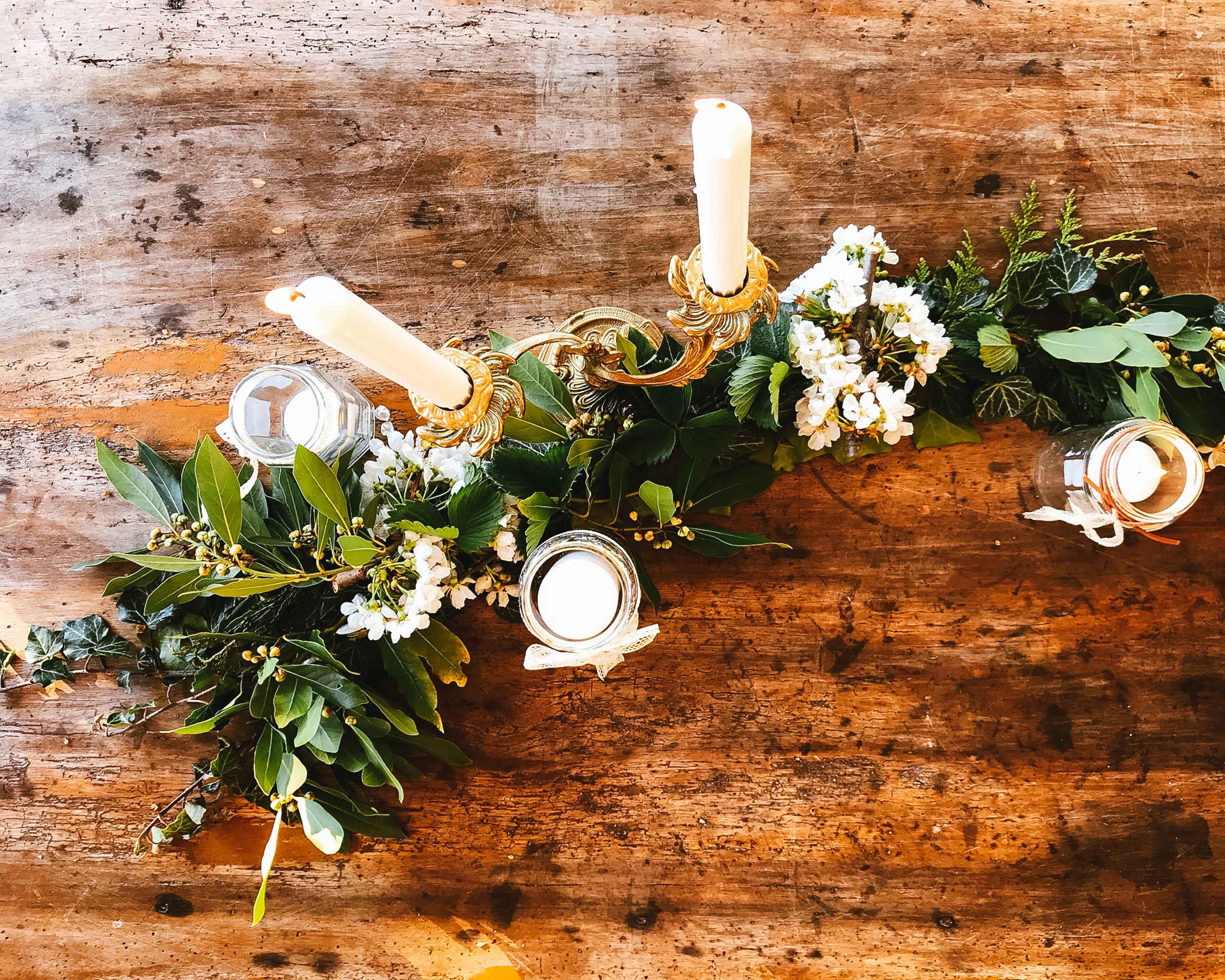 décoration florale mariage vintage chemin de table